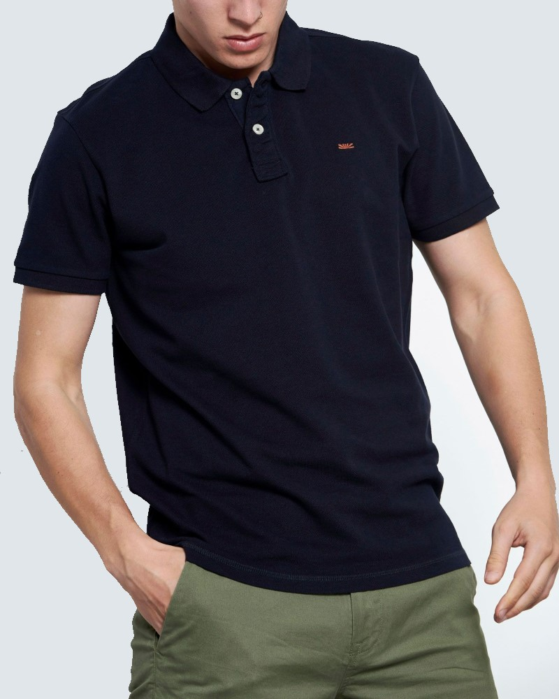 ESSENTIAL ΜΠΛΟΥΖΑ POLO ΑΠΟ ΒΑΜΒΑΚΙ ΠΙΚΕ - NAVY