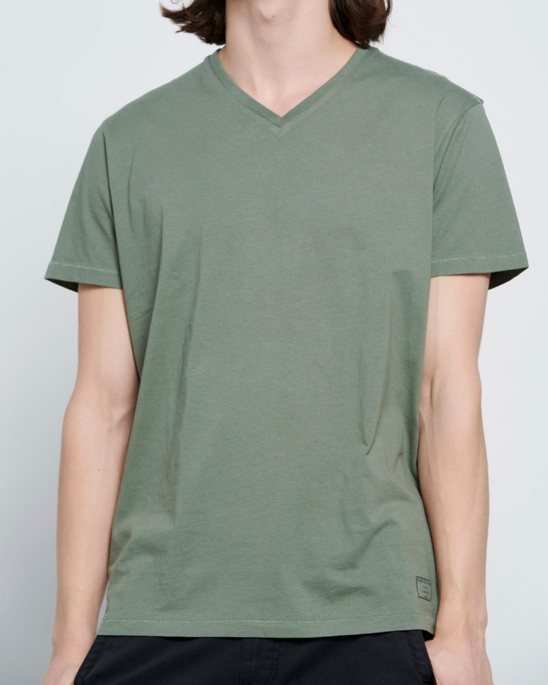 ESSENTIAL T-SHIRT ΜΕ ΛΑΙΜΟ V - KHAKI