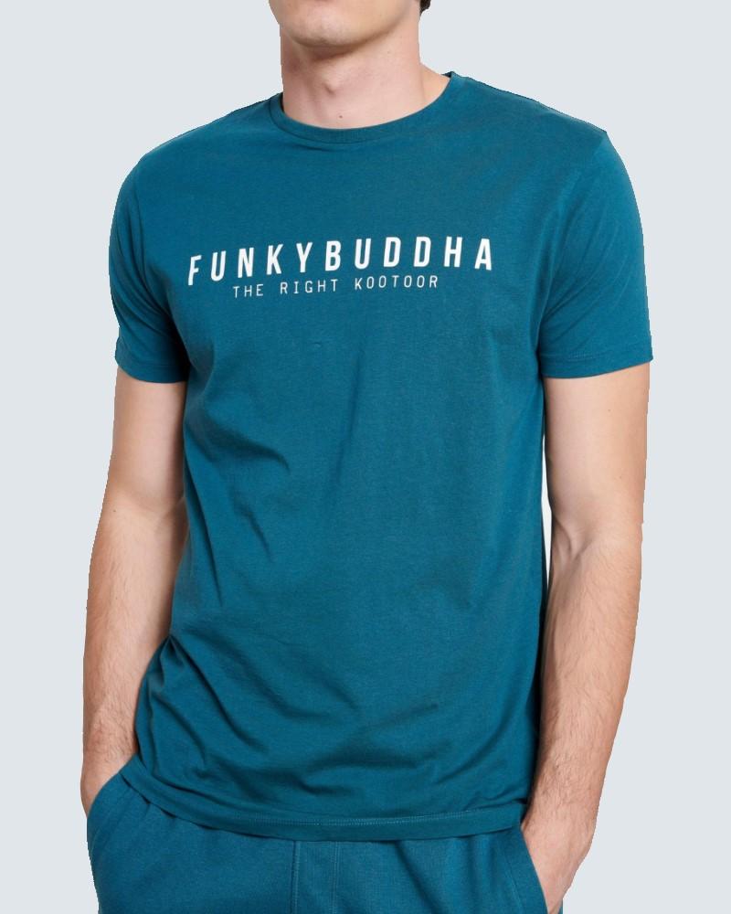 FUNKYBUDDHA T-SHIRT LOGO BASIC - PETROL