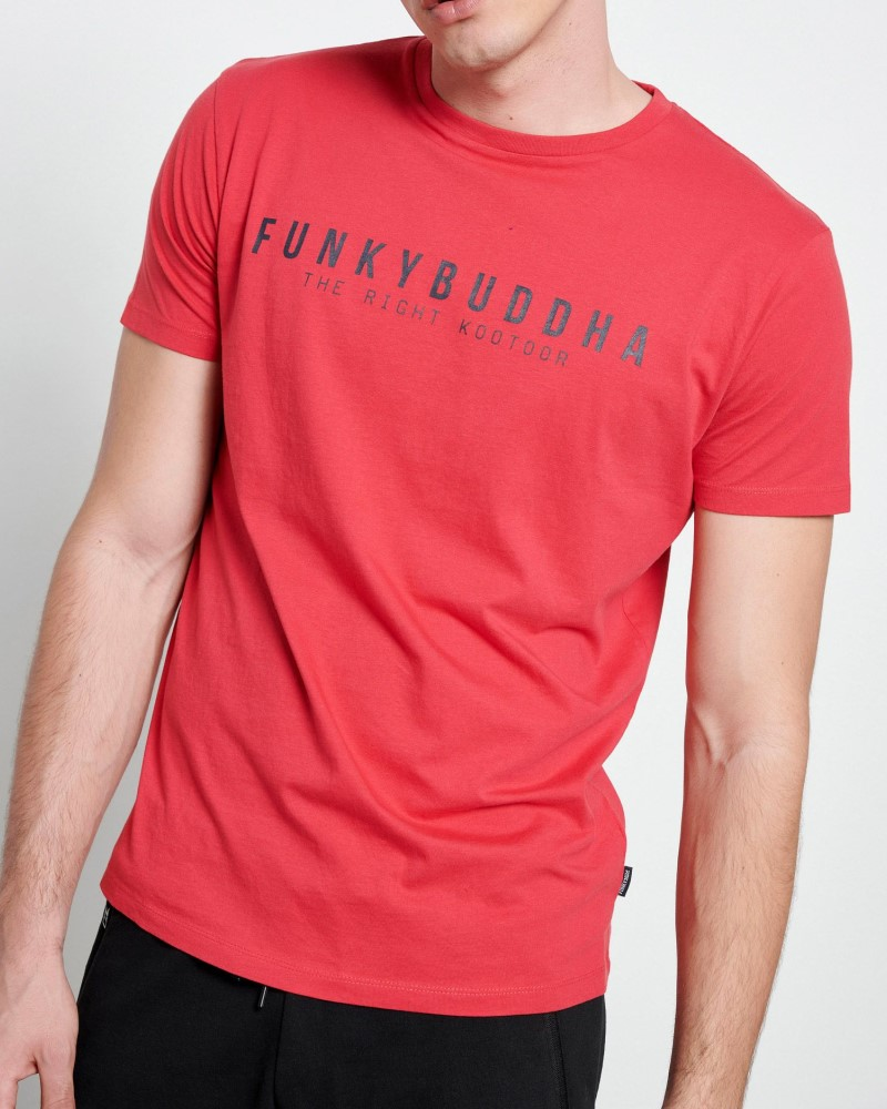FUNKYBUDDHA T-SHIRT LOGO BASIC - DARK RED