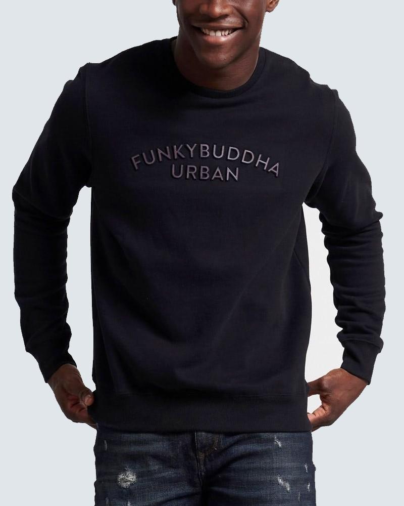 FUNKYBUDDHA 3D LOGO CREW NECK SWEATER - BLACK