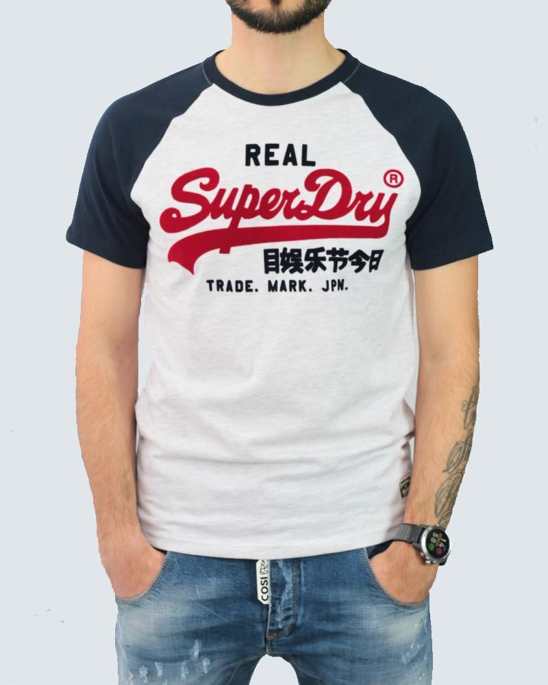 SUPERDRY T-SHIRT DYO RAGLAN  -OFF WHITE/NAVY