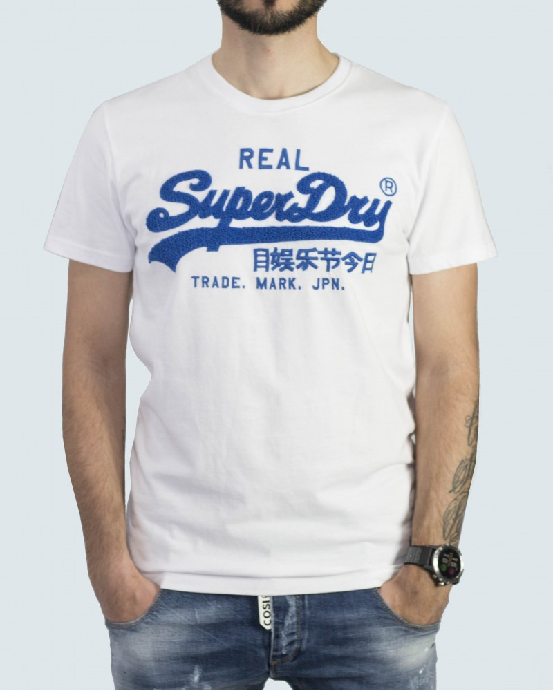SUPERDRY T- SHIRT  VINTAGE LOGO CHENILLE - WHITE