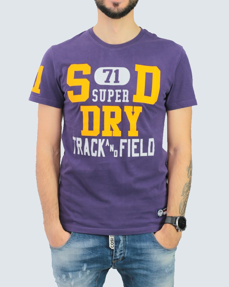 SUPERDRY T-SHIRT TRACK & FIELD GRAPHIC - PURPLE